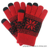 Gants acryliques de contact tricotés par jacquard coloré d'écran tactile