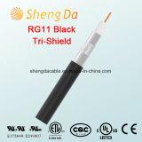 Il nero dello Tri-Schermo Rg11 75 Ohm di goccia di spazzata coassiale del cavo a 3GHz