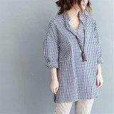サイズの女性の綿布の長い格子縞のブラウスのワイシャツと新しい方法