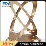 Rose Gold Meubles en acier inoxydable Table basse en verre blanc