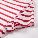 Du marin blanc d'OEM le T-shirt barré rayé unisexe et rouge
