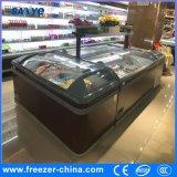 Congelador combinado de la isla del helado con la puerta de vidrio de desplazamiento en tapa