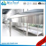 ステンレス鋼の円形の管のBacksplashおよび高さの調節可能な足を搭載する棚によって補強される強い構築の固体仕事台
