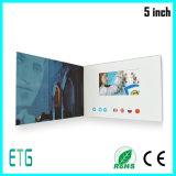 Поздравительная открытка LCD 5 дюймов видео- рекламируя видео-