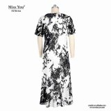 Ailinna 103079さんの中国人デザインマキシの白黒綿の服