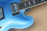 Musique de Hanhai/guitare électrique Semi-Creuse du bleu Es-335 avec le matériel de chrome