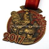Medalla de encargo del metal del recuerdo del gallo del producto más nuevo 2017