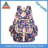 屋外の方法女の子紫色の印刷された型のキャンバス学生のバックパック