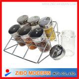 Il mini vaso di vetro all'ingrosso della spezia ha impostato con la cremagliera del metallo