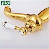 Robinet classique d'or à levier unique de salle de bains de robinet de bassin de Flg