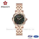 Madame libre Dress Rhinestone Quartz Watch de montre de bracelet de taille de montre d'acier inoxydable