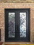 家のためのリードガラスが付いている鉄の前ドア
