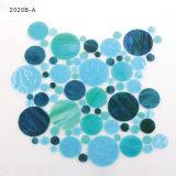 Azulejo de mosaico del vidrio manchado del cuarto de baño del color azul y verde del mar de la fábrica de China