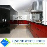 Mobilia di vetro degli armadi da cucina di rivestimento di temperamento del nero e di colore rosso (ZY 1136)
