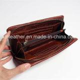 Бумажник кожаный женщин портмона конструкции сбор винограда кожаный