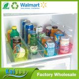 Organizador transparente quadrado do armazenamento do refrigerador da cozinha do agregado familiar