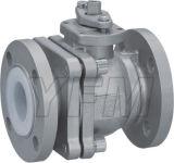 Шариковый клапан выровнянный PFA ручной CF8