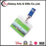 Um suporte de cartão azul impresso Creen de seda do emblema da identificação dos colhedores da cor com a curvatura Breakaway da segurança e o gancho de P