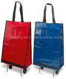 Saco de compra relativo à promoção com as rodas feitas do material do PVC