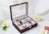 Rectángulo de joyería de cuero hecho a mano del rectángulo de almacenaje del reloj de Mens de la PU