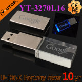 USB de cristal Pendrive Shaped quadrado do logotipo da gravura do laser (YT-3270L)