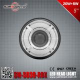 5 viga inferior de la pulgada 9-33V y luz principal redonda de DRL LED