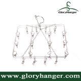 Chaussette pliable de nouvelle conception/cintre de séchage en métal de sous-vêtements avec 20 agrafes ((GLMH15)