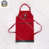 Cocina roja del bordado respetuoso del medio ambiente del algodón que cocina el delantal de los hombres de la promoción