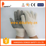 Cotton 자연적인 Polyester String Knit 4thread Black PVC Dots One Side Working Glove (DKP408)