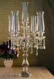 Candeliere di vetro di cristallo del supporto di candela delle 5 braccia per la decorazione di cerimonia nuziale