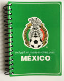 Cadernos Pocket relativos à promoção espirais pretos de tampa macia de copo de mundo A6