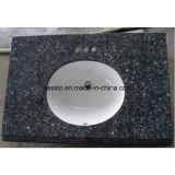 Partes superiores pretas Polished personalizadas da vaidade do banheiro do granito