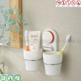 Aspirazione Cup Bathroom Storage Holder con Double Tooth Cup