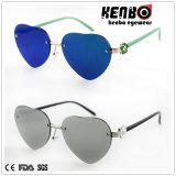 Rundes Frame Metal Sunglasses mit Flat Lens Km15223