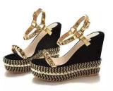 Новые ботинки повелительниц высокой пятки клина способа с заклепкой (HS17-83)