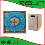 Cable de red UTP CAT6 a granel con la chaqueta del PVC de la caja del tirón