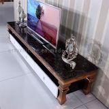 Tabella moderna superiore del marmo TV dei piedini dell'acciaio inossidabile dell'oro della Rosa