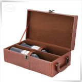 Caja de embalaje del vino de cuero de la PU para el hombre