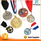 Cinta militar de encargo plateada de la medalla de la muestra libre