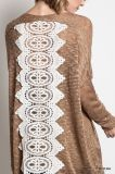 Longue douille de Knit de chandail de tunique de dos surdimensionné supérieur texturisé de lacet