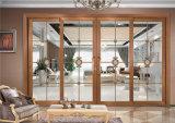 Раздвижная дверь славного цвета сандалии конструкции красного деревянного стеклянная алюминиевая