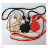 O pendente da forma da forma com madeira perla a colar Chain de Hip Hop (IO-wn017)