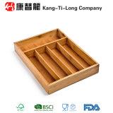 Organizador de madeira de bambu do divisor da gaveta