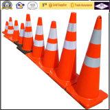 cones fluorescentes contínuos brancos da segurança de tráfego da estrada do PVC de 45cm