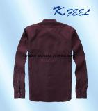 Dunkelblauer Pin Stripe Shirt mit Mandarin Collar