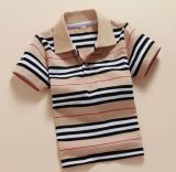 Custom Logo Strip Fashion Cotton Kid Polo Tee