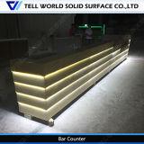 Encimeras comerciales modificadas para requisitos particulares diseño de lujo de la barra del restaurante del diseño de la encimera de la barra del LED para la encimera moderna de la barra de la venta