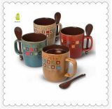 American Style Stoneware Reactive Glazed Mug with Spoon Set