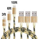 Rundes Kabel für iPhone Daten-Kabel-ursprüngliches Nylon umsponnenes USB-Aufladeeinheits-Kabel