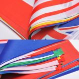 La cadena impresa promoción multicolora del banderín señala el empavesado por medio de una bandera para la decoración